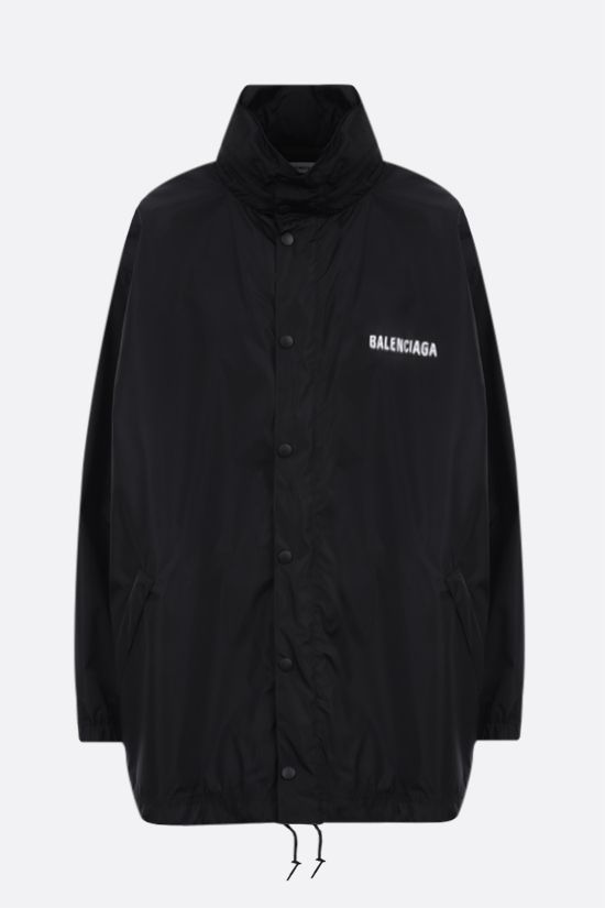 BALENCIAGA: Dèfilè print nylon oversize windbreaker Color Black_1
