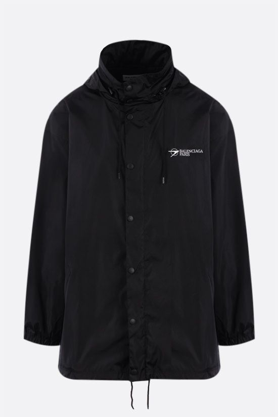 BALENCIAGA: oversize logo print windbreaker Color Black_1