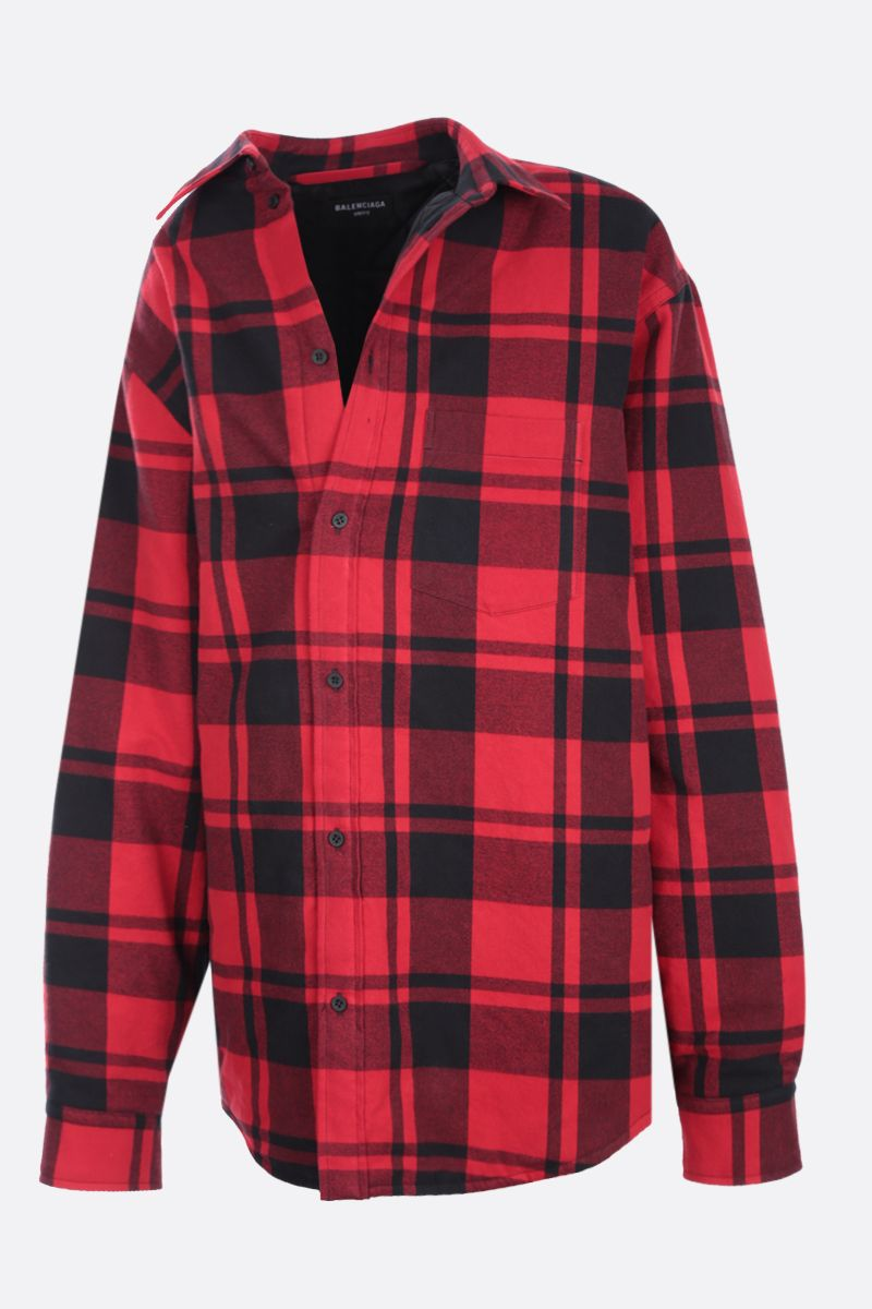 BALENCIAGA: flannel padded off-the-shoulder overshirt Color Red_1