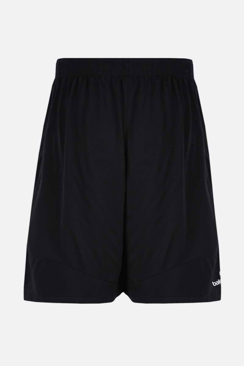 BALENCIAGA: Soccer print mesh shorts Color Black_2