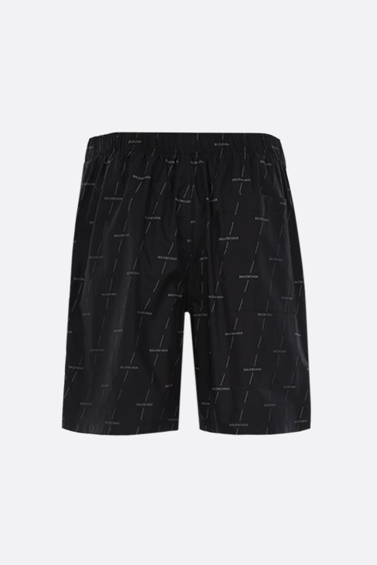 BALENCIAGA: logo print poplin shorts Color Black_2