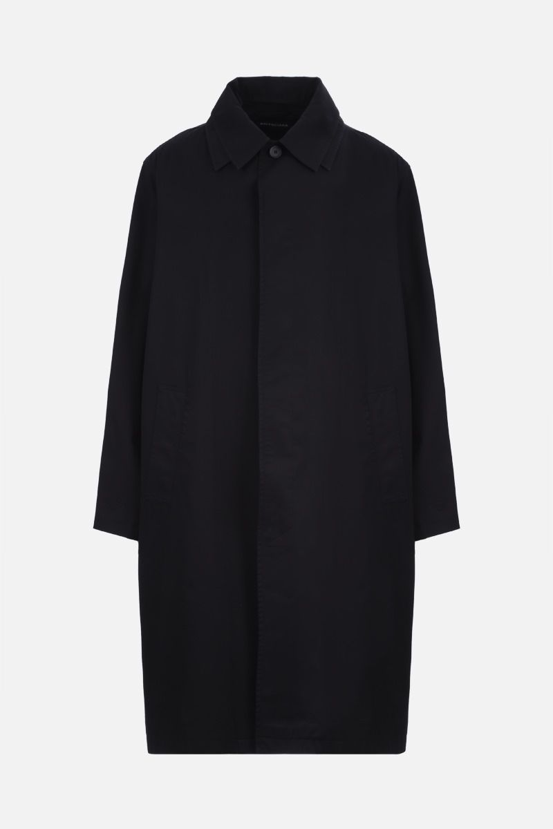 BALENCIAGA: logo label-detailed cotton oversize overcoat Color Black_1