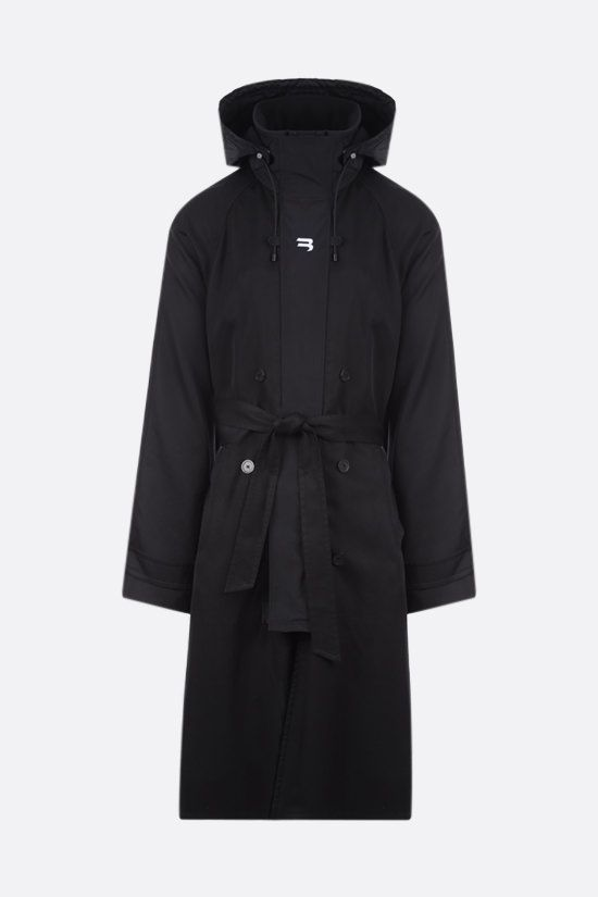 BALENCIAGA: Sporty B logo gabardine trench Color Black_1