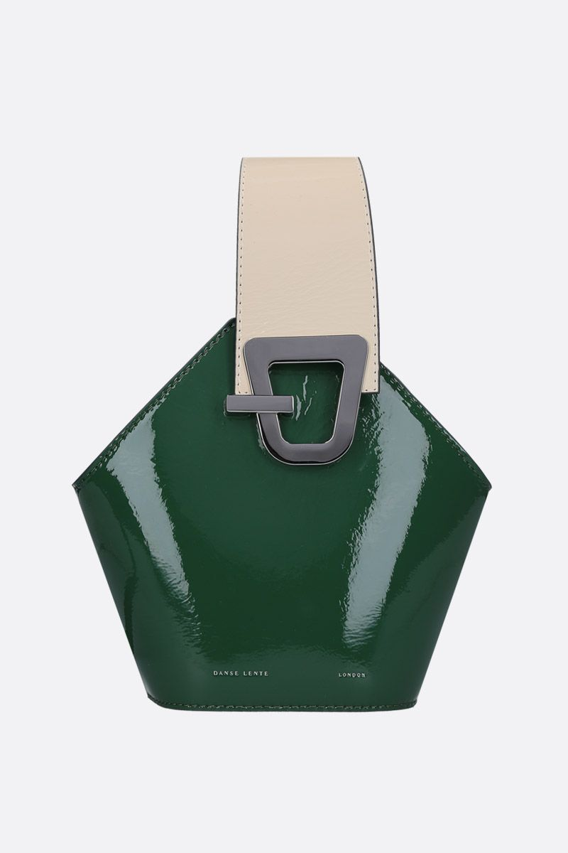 DANSE LENTE: Johnny mini top handle bag in patent leather Color Green_1