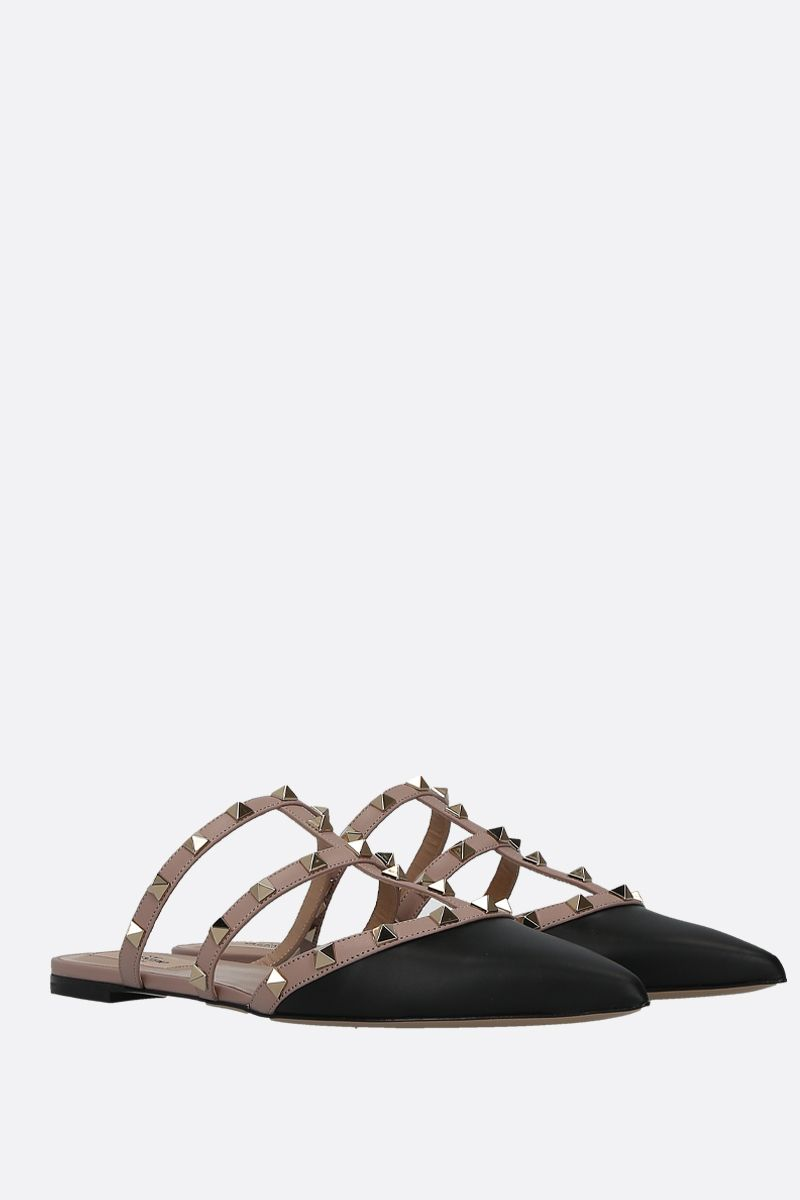 VALENTINO GARAVANI: Rockstud smooth leather slippers Color Black_2