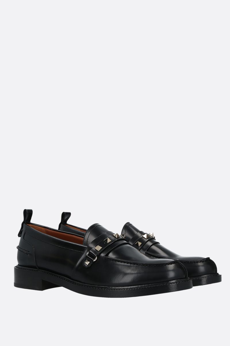 VALENTINO GARAVANI: Rockstud shiny leather loafers Color Black_2
