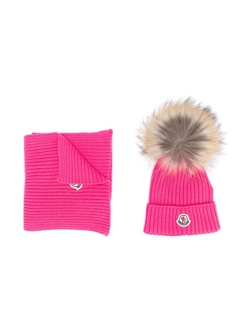 MONCLER KIDS: wool beanie and scarf set Color Pink_1