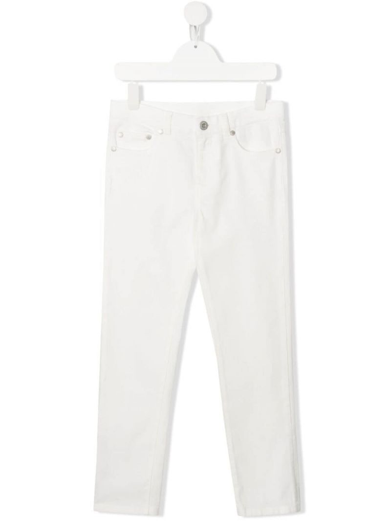 MONCLER KIDS: logo-detailed slim-fit jeans Color White_1
