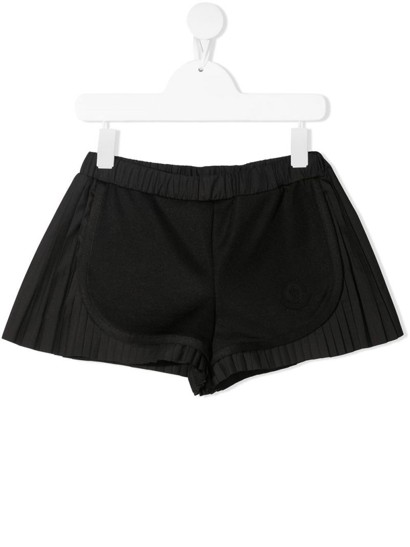 MONCLER KIDS: technical fabric shorts Color Black_1