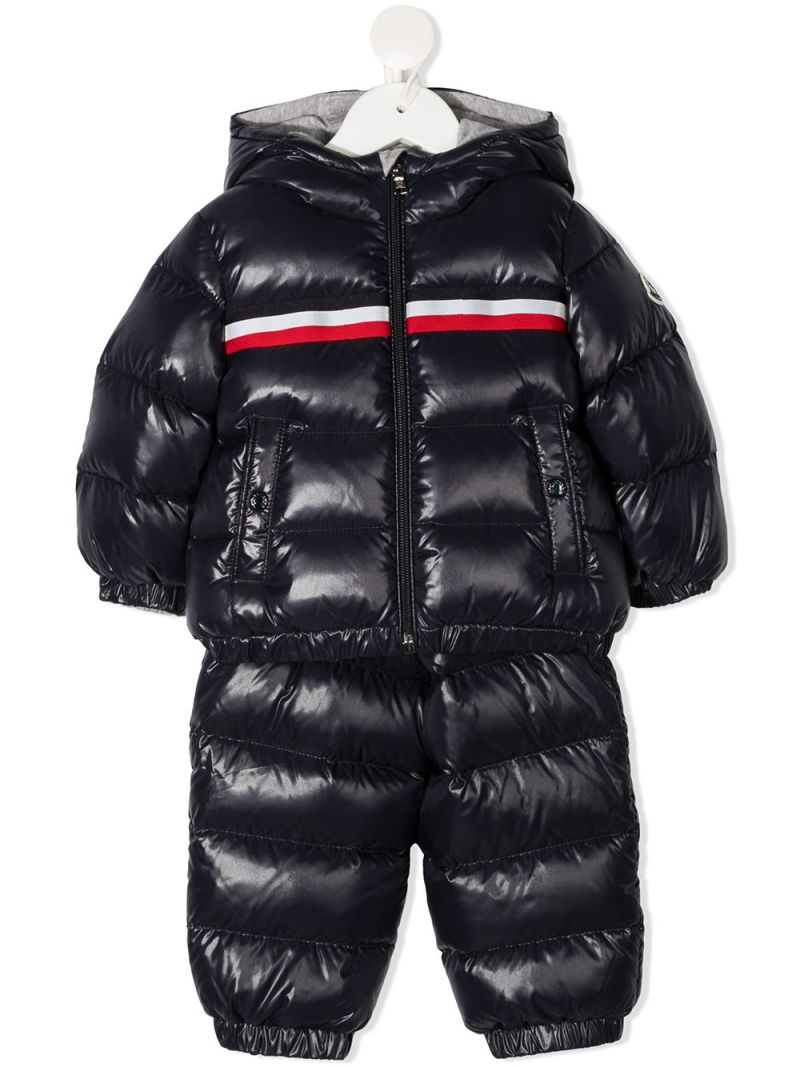 MONCLER KIDS: Layak two-piece snowsuit set in laquè nylon Color Blue_1