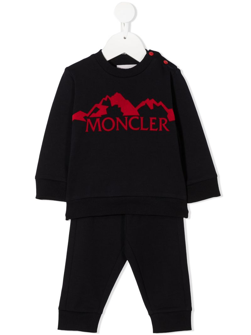 MONCLER KIDS: logo print stretch cotton tracksuit Color Blue_1