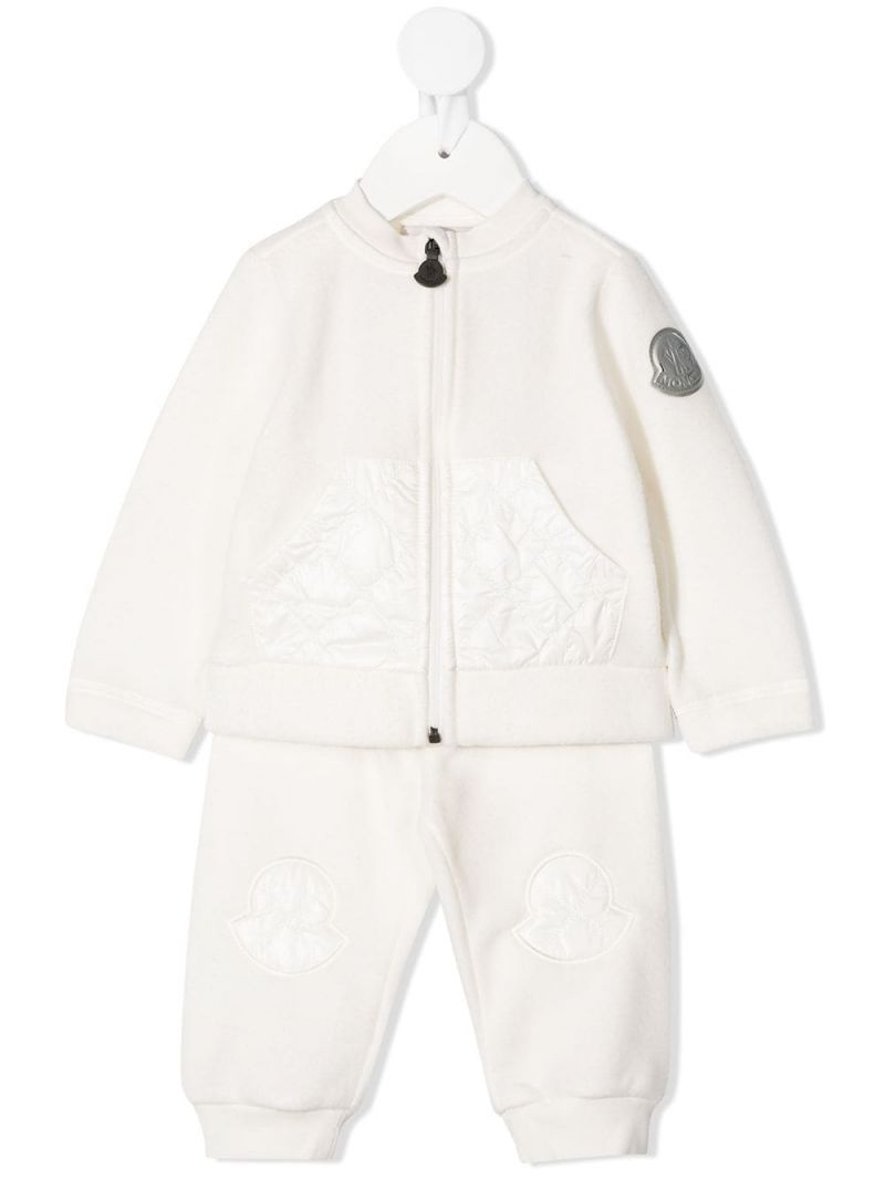 MONCLER KIDS: logo-detailed fleece tracksuit Color White_1