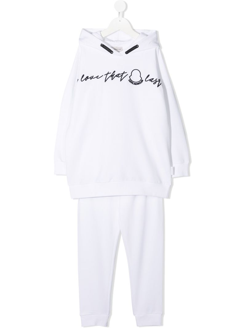 MONCLER KIDS: stretch cotton tracksuit Color White_1
