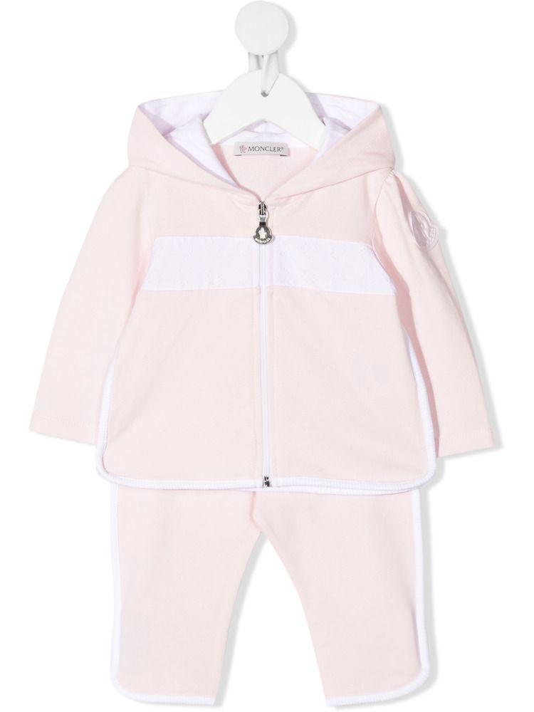 MONCLER KIDS: stretch cotton tracksuit Color Pink_1