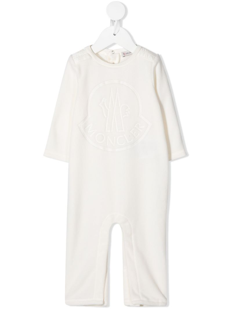 MONCLER KIDS: logo print fleece babygrow Color White_1