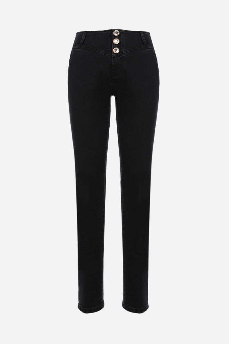 ALESSANDRA RICH: jewel button-detailed skinny jeans Color Black_1