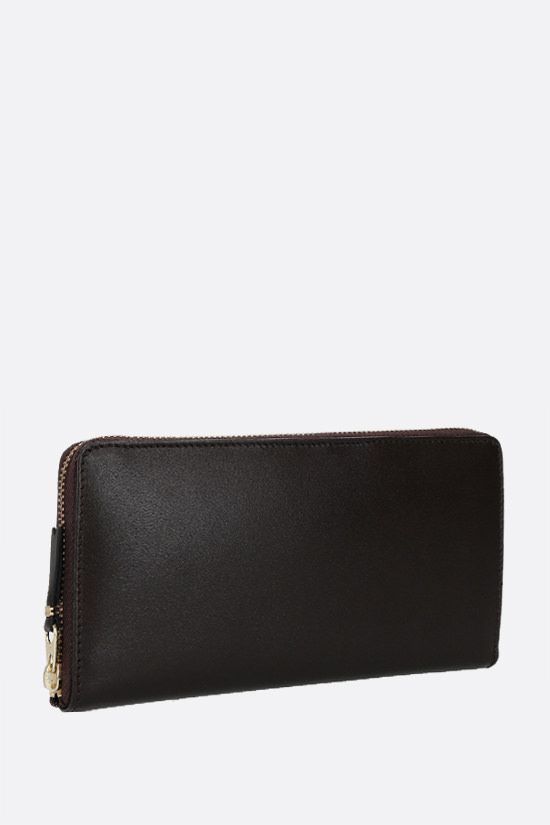 COMME des GARCONS WALLET: smooth leather zip-around wallet Color Brown_3