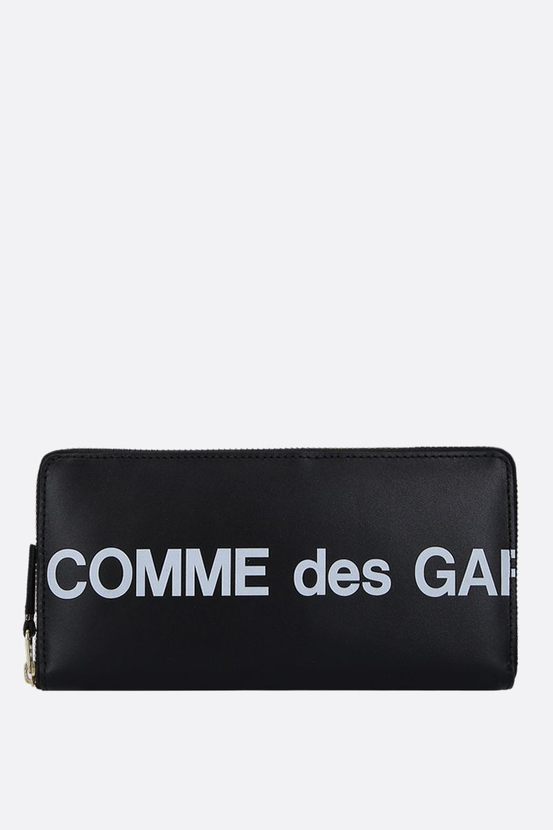 COMME des GARCONS WALLET: logo print smooth leather zip-around wallet Color Black_1
