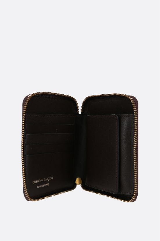 COMME des GARCONS WALLET: smooth leather small zip-around wallet Color Brown_2