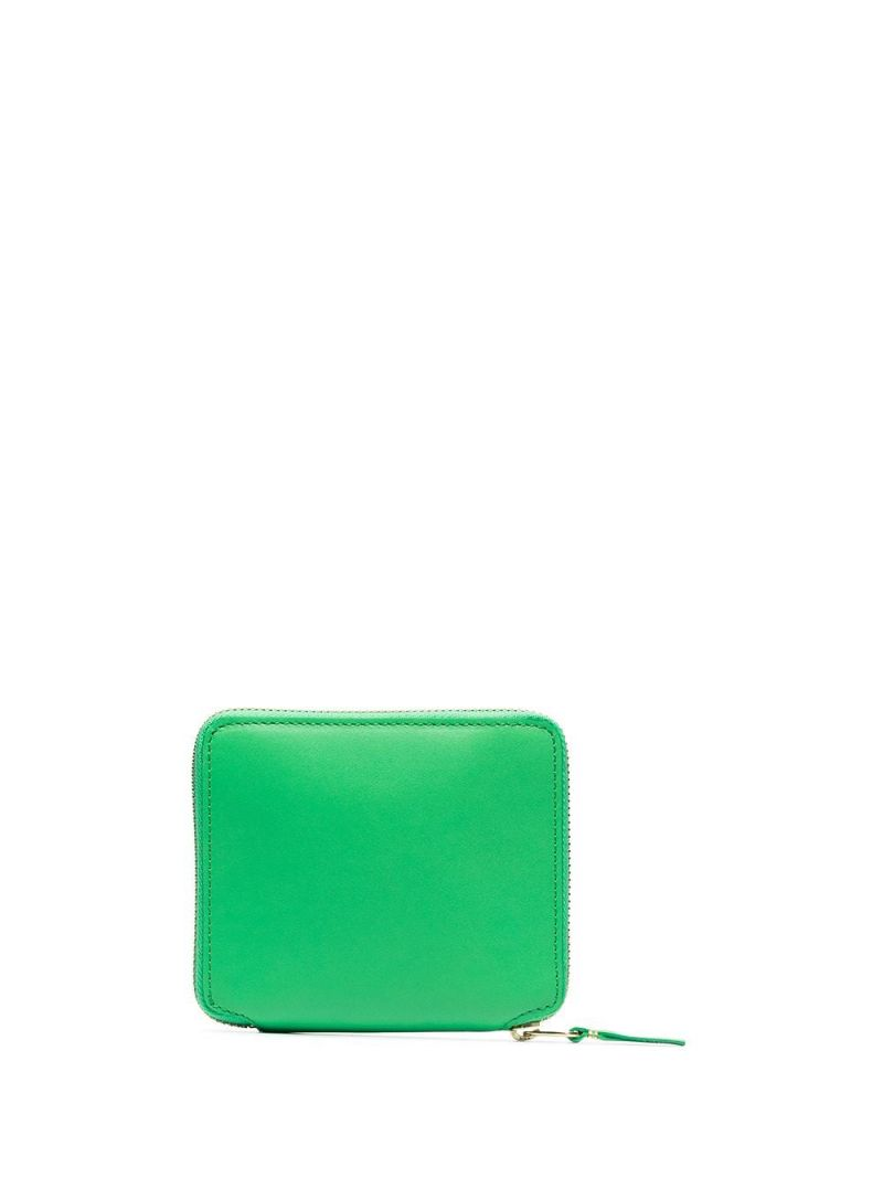 COMME des GARCONS WALLET: smooth leather small zip-around wallet Color Green_2