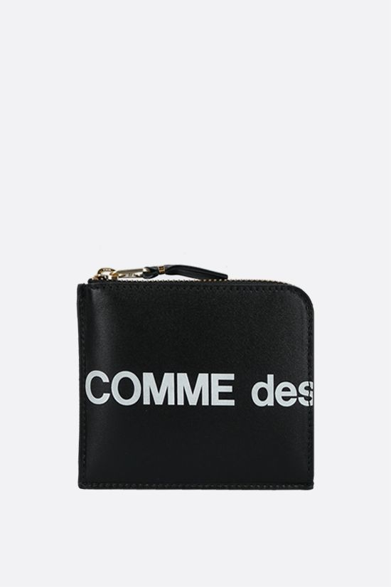 COMME des GARCONS WALLET: logo print smooth leather half-zip wallet Color Black_1