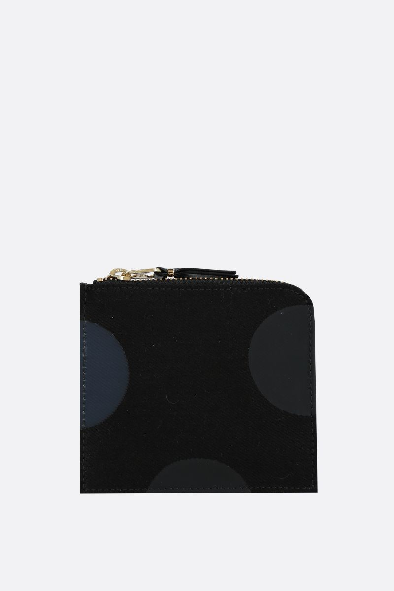 COMME des GARCONS WALLET: polka-dot canvas half-zip wallet Color Black_1