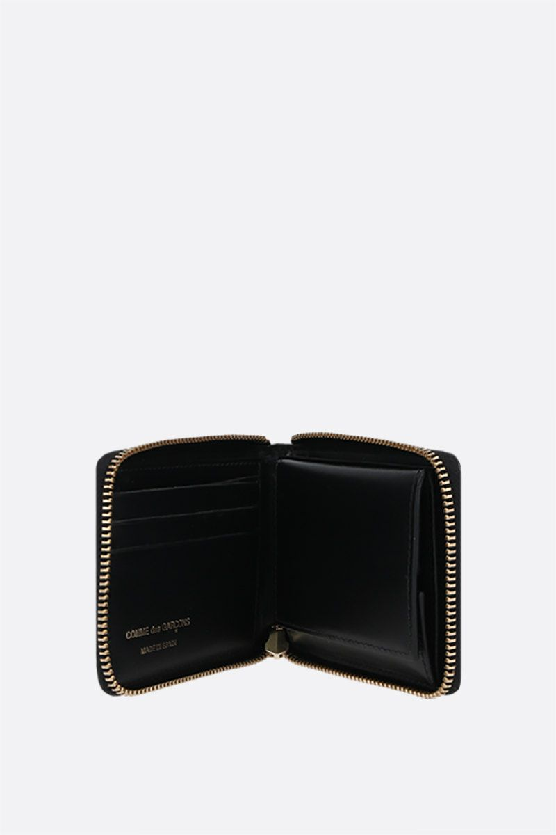 COMME des GARCONS WALLET: smooth leather small zip-around wallet Color Black_2