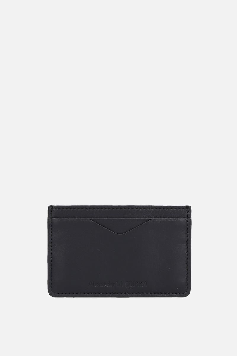ALEXANDER McQUEEN: Rib Cage leather card case Color Black_1