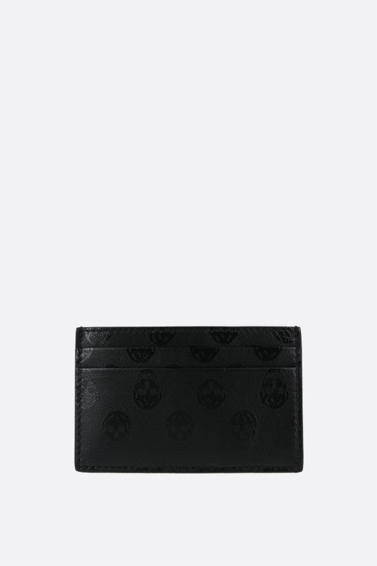 ALEXANDER McQUEEN: Skull print smooth leather card case Color Black_1