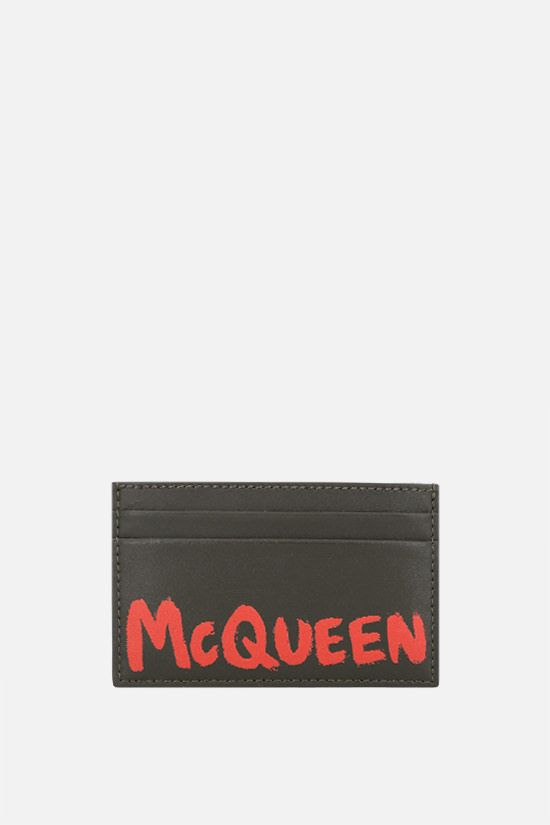 ALEXANDER McQUEEN: McQueen Graffiti smooth leather card holder Color Brown_1