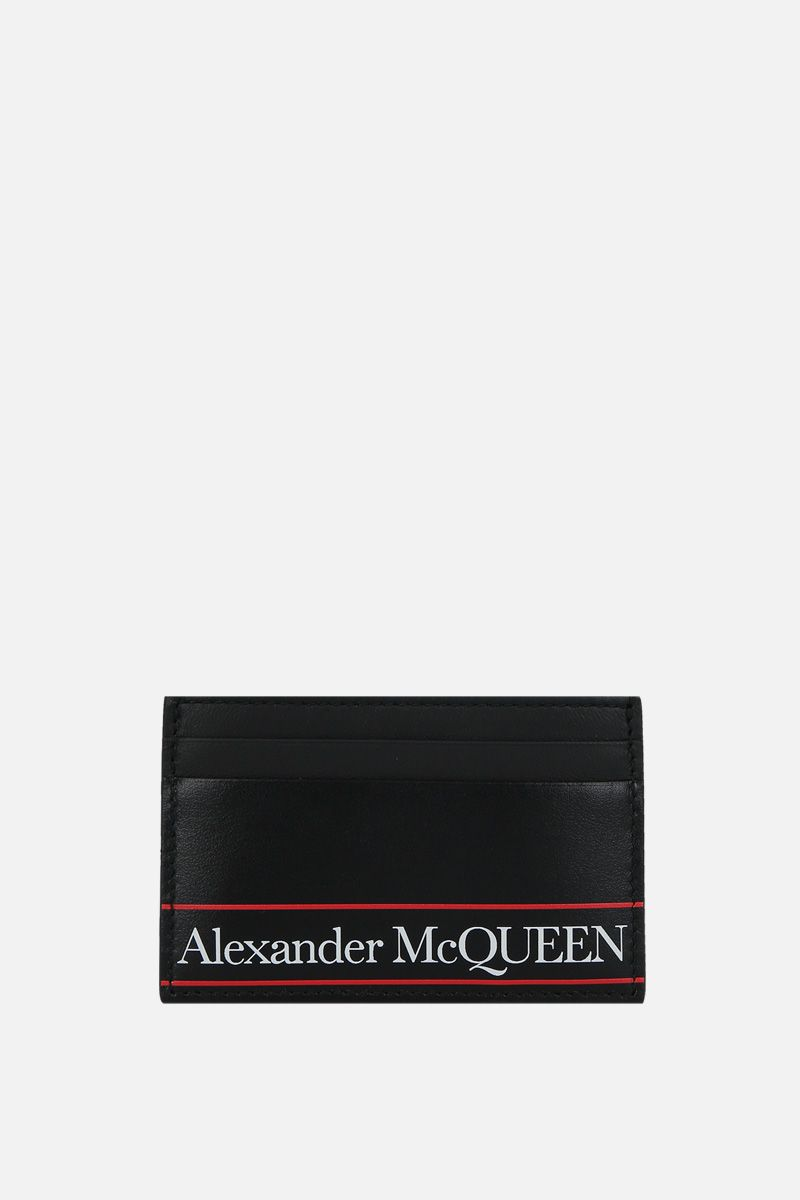 ALEXANDER McQUEEN: smooth leather card case Color Black_1
