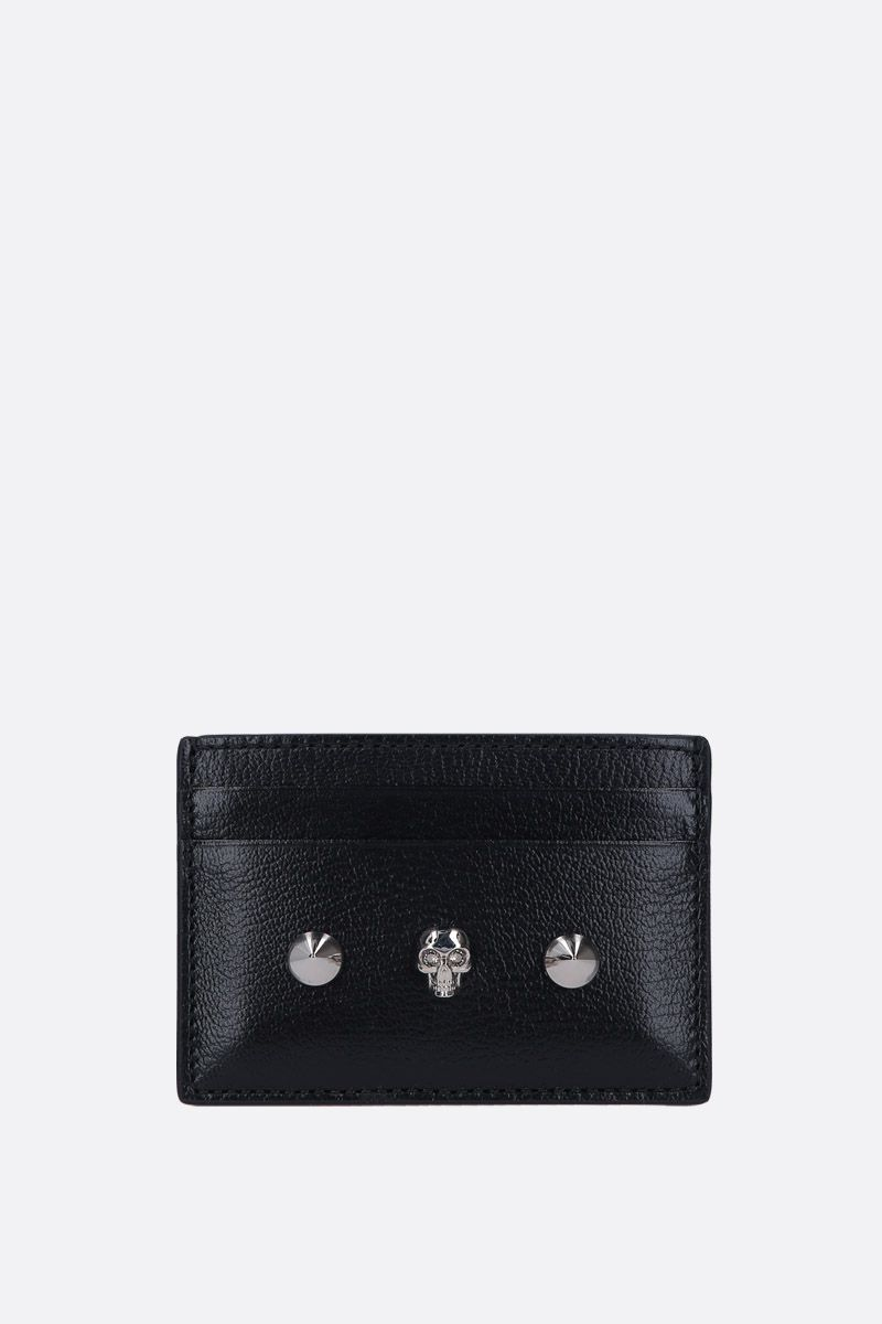 ALEXANDER McQUEEN: Skull card case in smooth leather Color Black_1