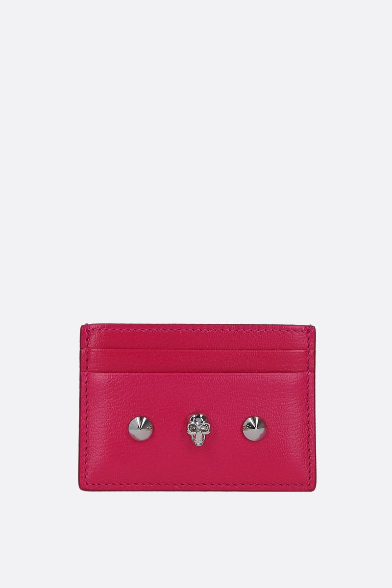 ALEXANDER McQUEEN: Skull card case in smooth leather Color Pink_1