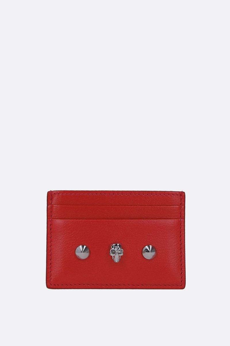 ALEXANDER McQUEEN: Skull card case in smooth leather Color Red_1