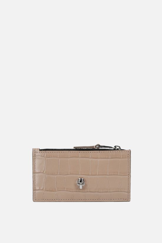 ALEXANDER McQUEEN: Skull crocodile embossed leather zip card holder Color Neutral_1