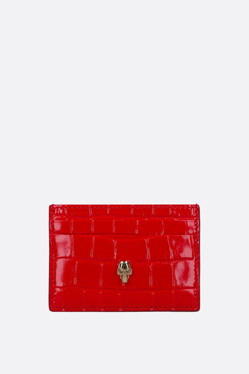 ALEXANDER McQUEEN: Skull-detailed crocodile embossed leather card case Color Red_1