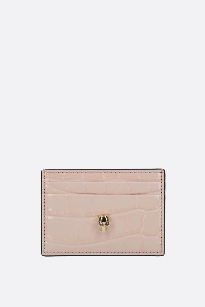 ALEXANDER McQUEEN: Skull-detailed crocodile embossed leather card case Color Pink_1