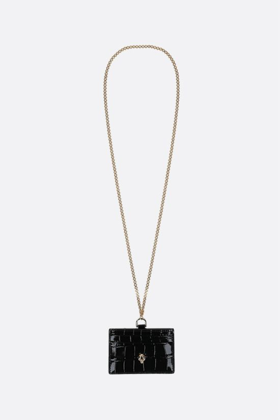ALEXANDER McQUEEN: crocodile embossed leather chain card case Color Black_1
