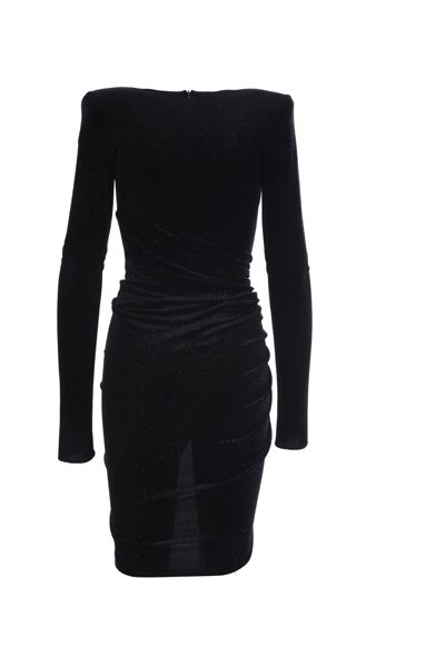 ALEXANDRE VAUTHIER: velvet and lurex draped minidress Color Black_2