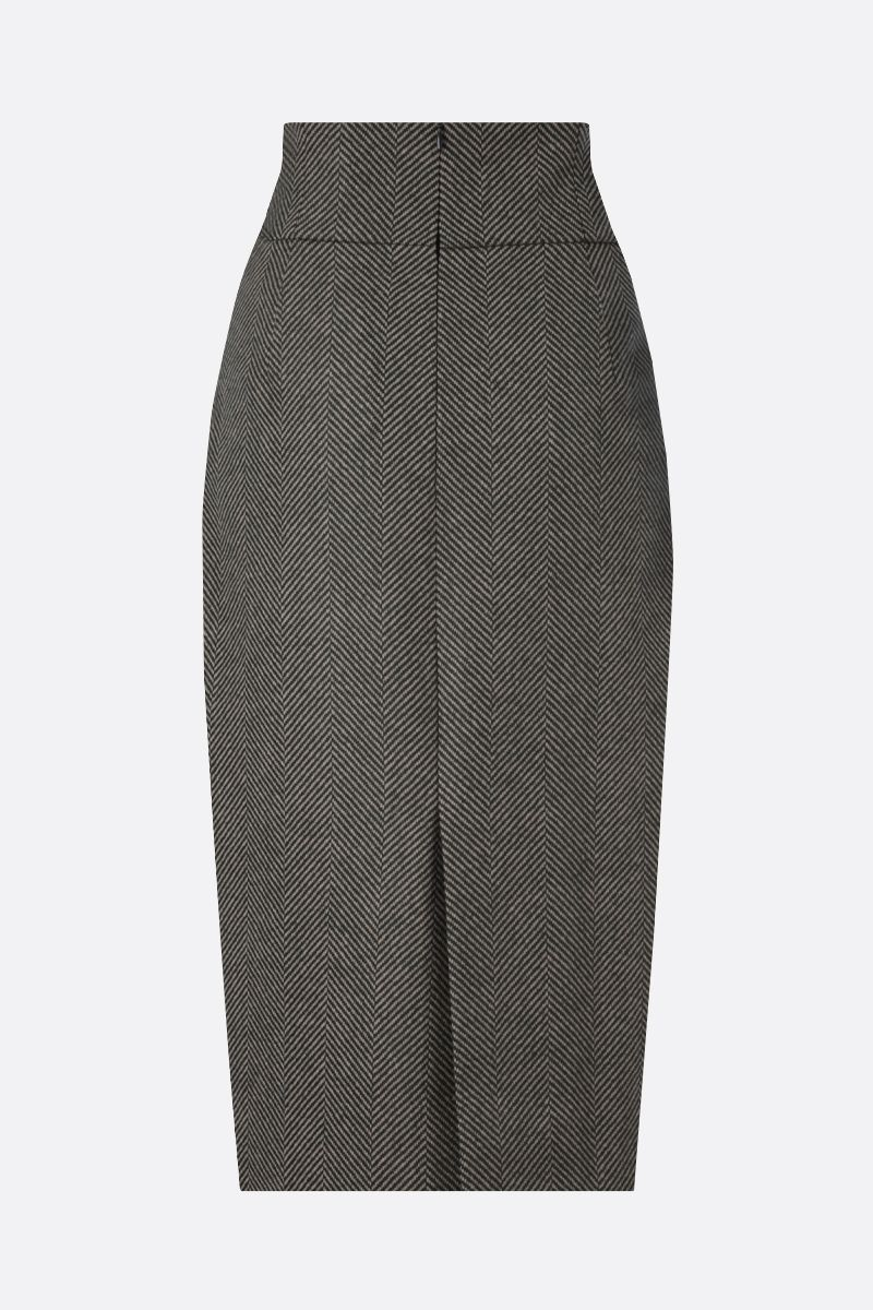 ALEXANDRE VAUTHIER: herringbone wool pencil skirt Color Brown_2