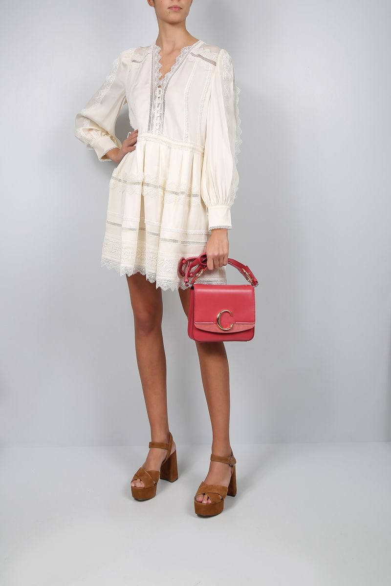 SELF PORTRAIT: twill short dress with lace trims Color White_2