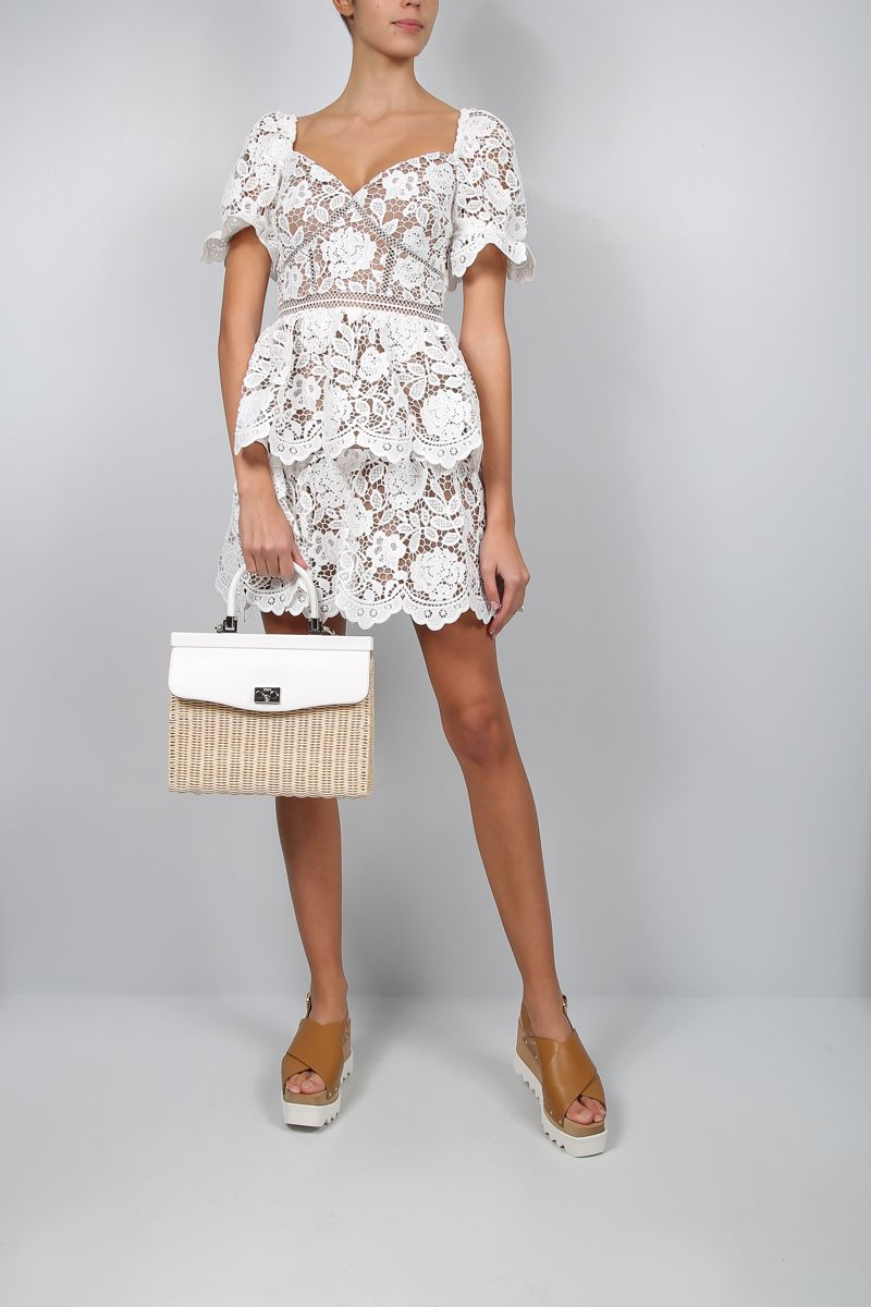 SELF PORTRAIT: floral lace flounced minidress Color White_2