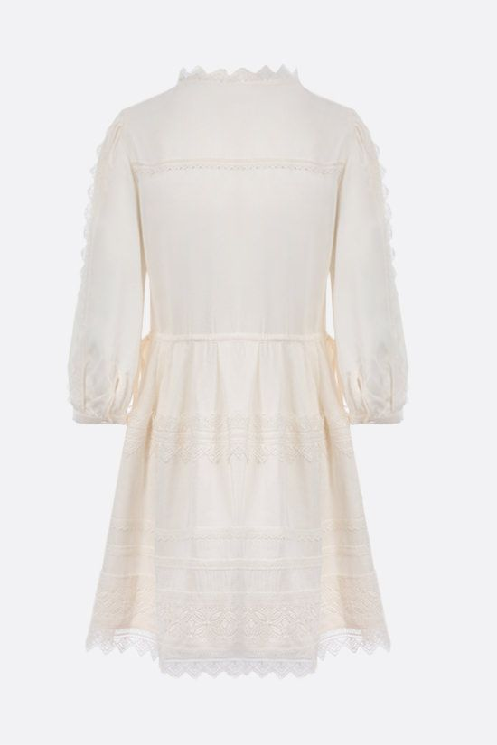 SELF PORTRAIT: lace-trimmed twill minidress Color White_2
