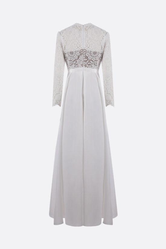 SELF PORTRAIT: lace and taffeta long dress Color White_2