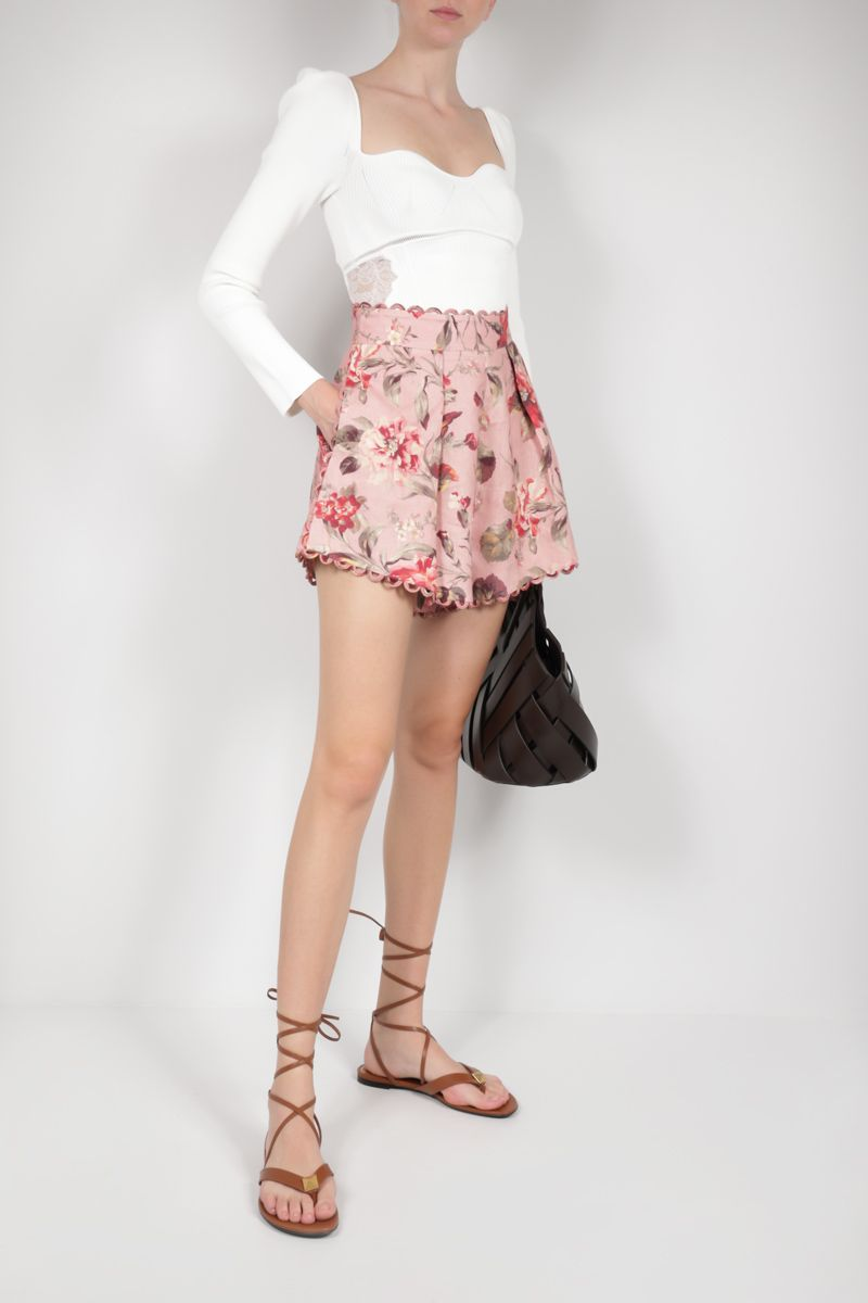 SELF PORTRAIT: lace-detailed ribbed jersey cropped top Color White_2