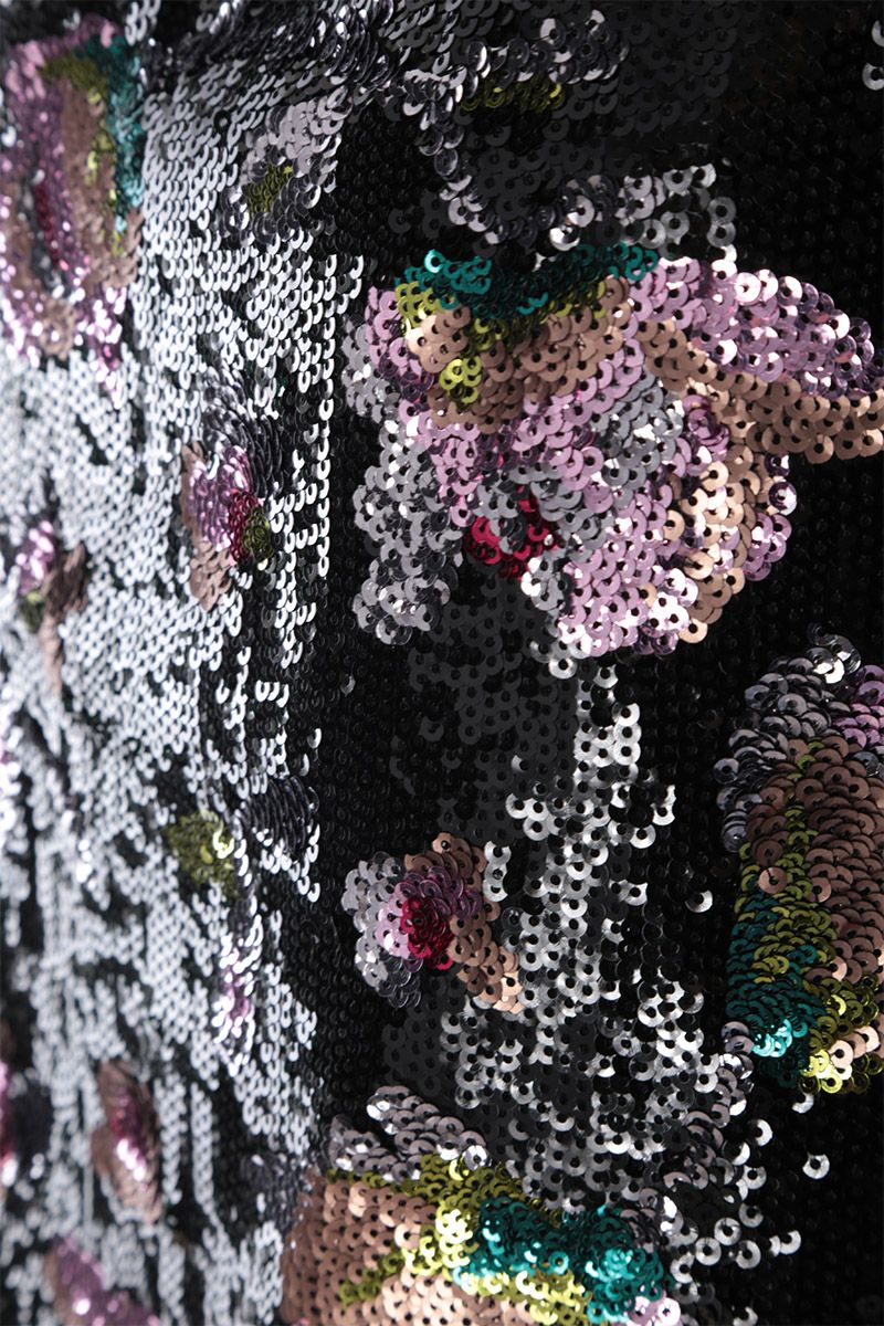 SELF PORTRAIT: Midnight Bloom sequinned one-shoulder top Color Multicolor_4