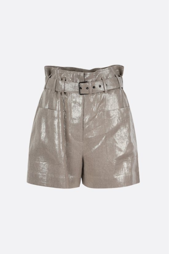 BRUNELLO CUCINELLI: belt-detailed linen lurex blend shorts Color Gold_1