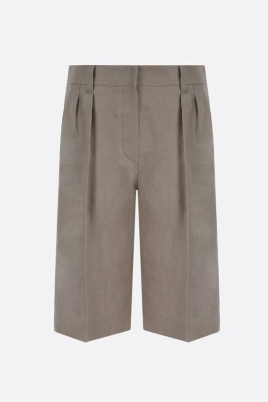 BRUNELLO CUCINELLI: linen darted shorts Color Neutral_1