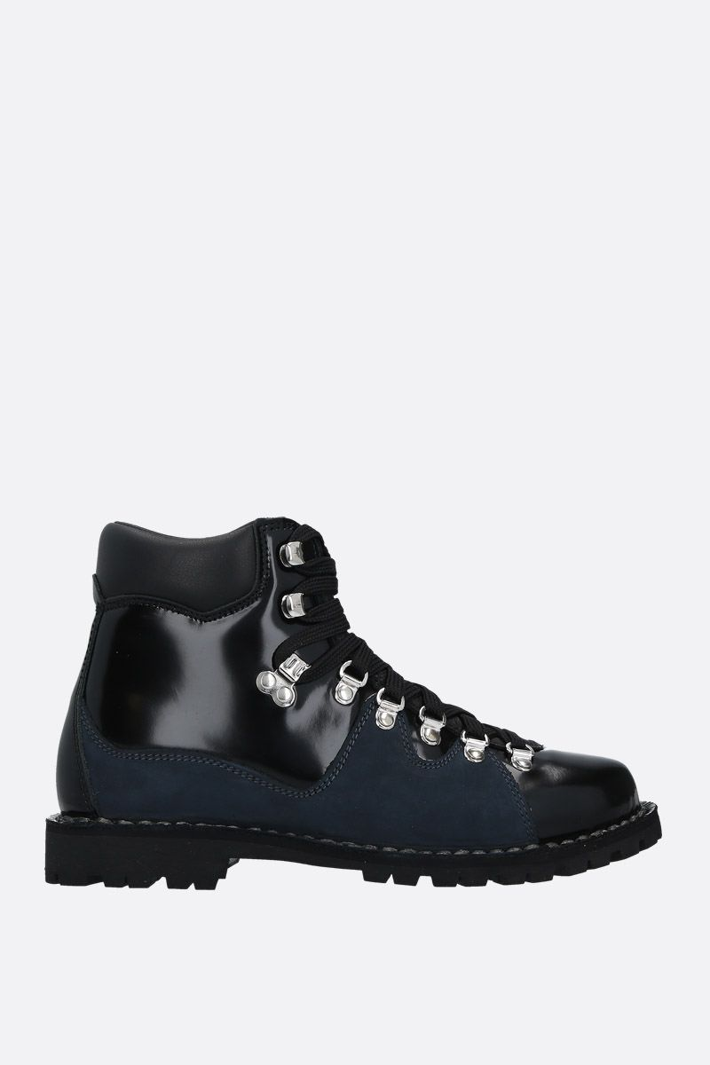 CECILIE BAHNSEN: brushed leather and suede hiking boots Color Black_1