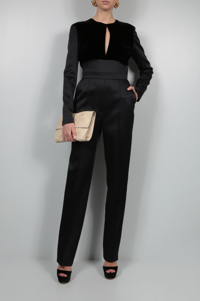 ELIE SAAB: velvet insert shiny crepe jumpsuit Color Black_2